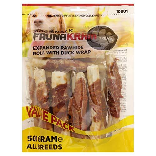 Faunakram Rohleder Kausnack für Hunde, 500g Value Pack (Kaustangen mit Entenwickel, 500g Value Pack)