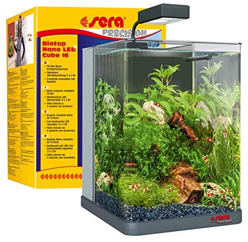 sera Biotop Nano LED Cube 16l ein Aquarium Komplettset - Plug & Play - aus gebogenem Glas mit LED...