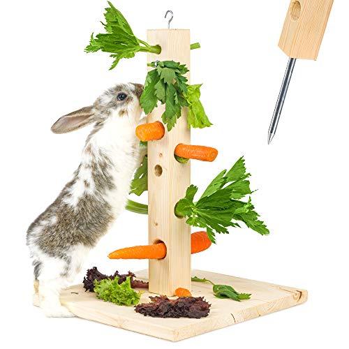 Nagergaleria Futterbaum Kaninchen Meerschweinchen mit Bodenplatte aus Holz und Erdspieß fürs Freigehege...