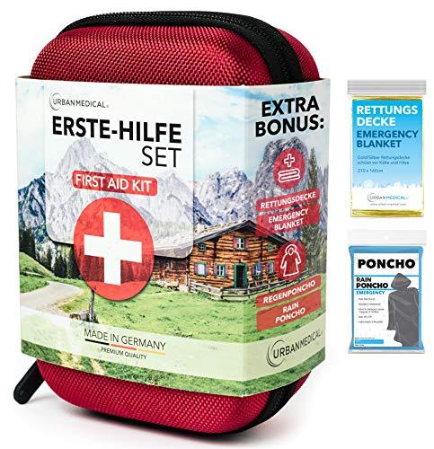 URBAN MEDICAL Premium Erste Hilfe Set aus Deutschland DIN 13167 + Regenponcho + Rettungsdecke  ...