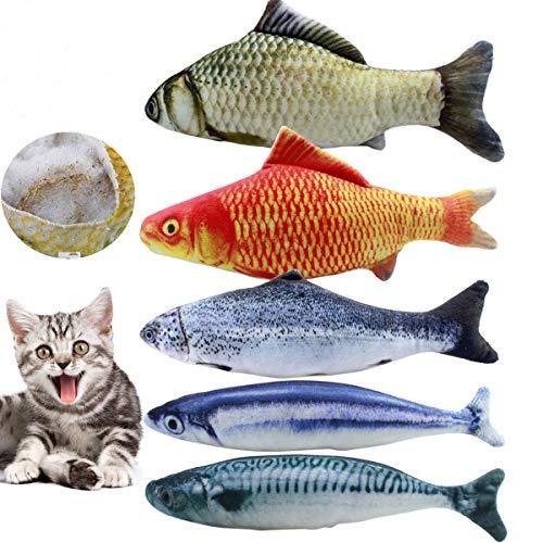 Netspower Spielzeug mit Katzenminze, 5PCS Katze Interaktive Spielzeug, 20CM Simulation Fisch, Kissen...