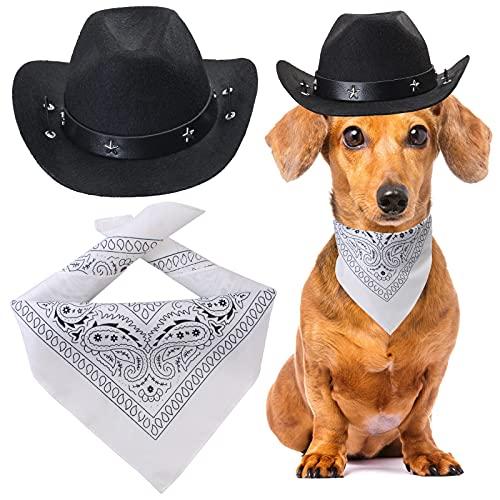 Yewong Cowboy-Kostüm-Zubehör für Hunde und Katzen, Cowboy-Hut und Halstuch, West-Cowboy-Zubehör für...
