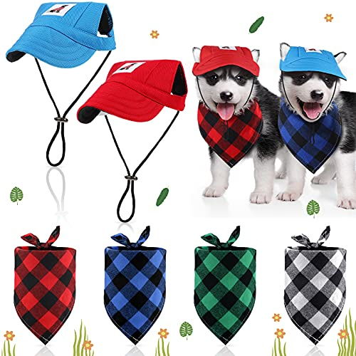 6 Stücke Hund Baseball Kappe Hut Bandanas Set Verstellbare Größe Haustier Hund Outdoor Sport...
