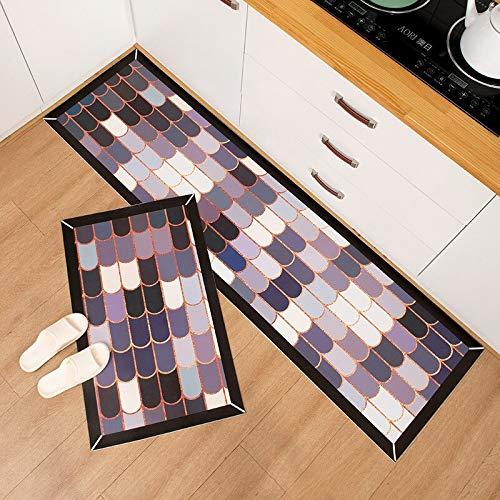 OPLJ Geometrische Küchenmatte Wasserdicht Ölfester Küchenteppich Eingang Leder Küche...