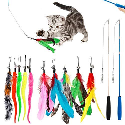 Interaktives Katzenspielzeug Spielzeug mit Federn, Teaser mit 2 Skalierbar Stangen 10 Katzenangel...