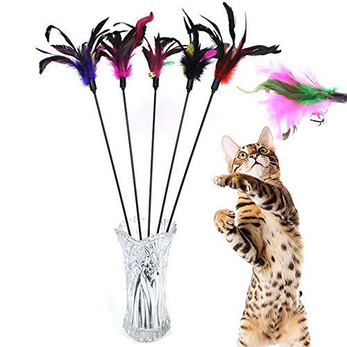 Demarkt 5X Katzenangel Federwedel Katzenspielzeug mit Glocke Katze Spielzeug mit Federn zufällige Farbe...