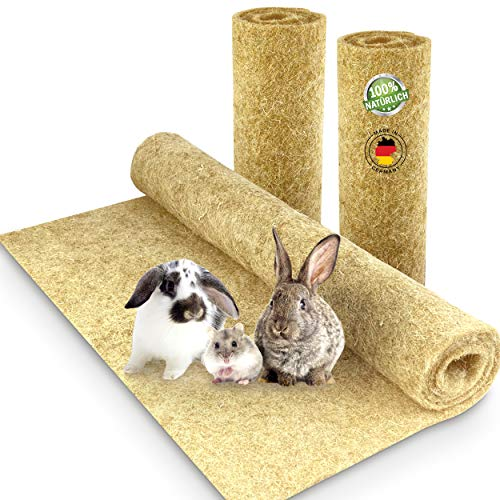 Nagerteppich aus 100% Hanf, 120 x 60cm, 5mm dick, 2er Pack, Hanfteppich für alle Arten Kleintiere,...