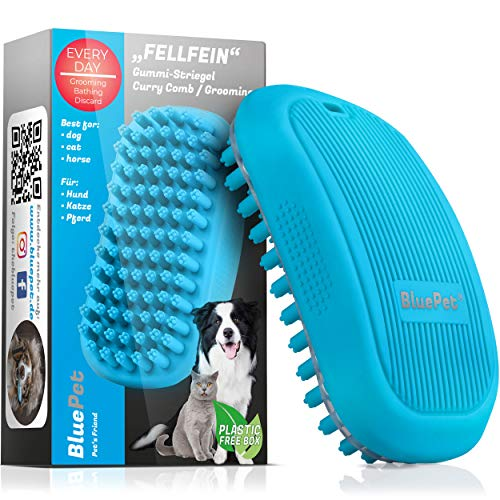 Bluepet® FellFein Gummistriegel für kurzhaar Hunde & große Katzen mit Massageeffekt | Entfernt Loses...