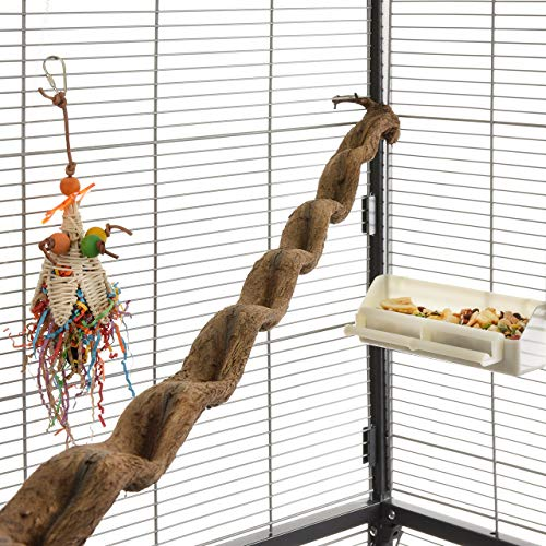 HappyBird ® | Natur Klettersitzstange Liane 90-100cm für Papageien / 2,5-5cm breit/Sitzstange für...