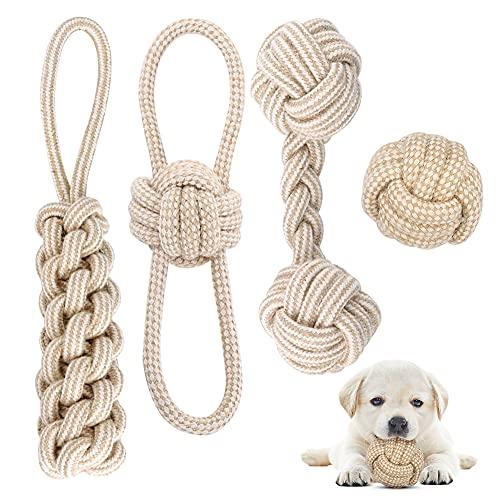 Hundespielzeug Seil mit Knoten Ball, 4 Stück Kauen Hundespielzeug Set für Kleine Hunde/ Mittlere,...