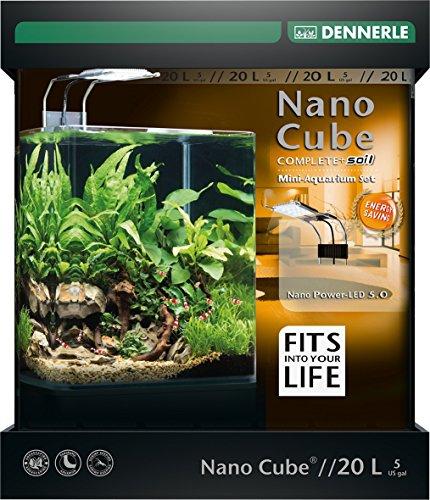 Dennerle Nano Cube Complete+ Soil 20 Liter - Mini Aquarium mit Abgerundeter Frontscheibe - Komplett-Set