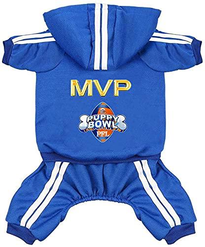 Hund Hoodies Hund Kleidung 4 Beine Overall Fußball MVP Fleece Pullover Winter Sweat Shirt Warme...