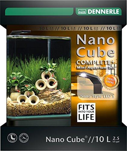 Dennerle Nano Cube Complete+ 10 Liter - Mini Aquarium mit Abgerundeter Frontscheibe - Komplett-Set
