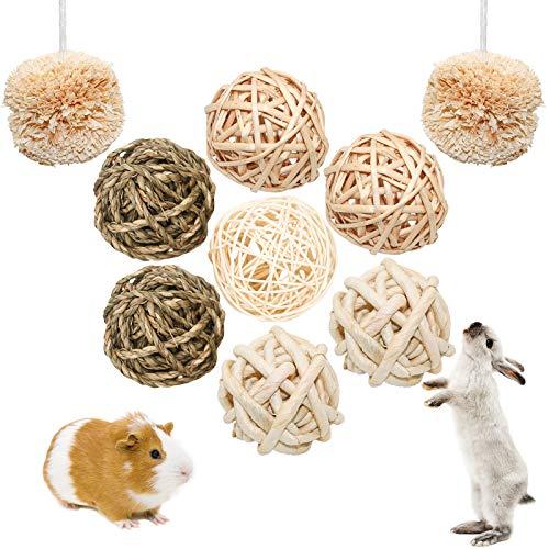 S-Mechanic 9 Stück Kleintiere Kaubälle Kauspielzeug, Hasen Natürlicher Spaß-spielzeugball, Kaninchen...