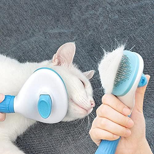 Ycloud Haustierbürste Katzenbürste Hundebürste mit Reinigungsknopf für all langhaarigen kurzhaarigen...