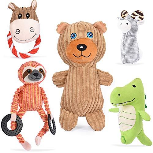 VIEWLON Hundespielzeug Hund Plüschspielzeug Quietschendes - 5 Stücke Hundespielzeugset, Langlebiges...
