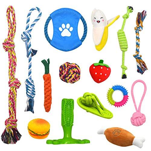 Welpenspielzeug 15pcs Hundespielzeug Kauspielzeug Interaktives Spielzeug Set Intelligenz Hundeseile...