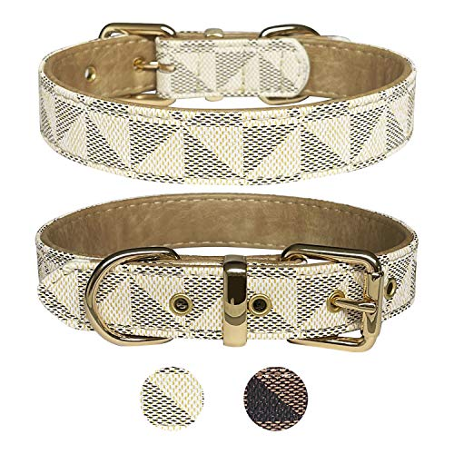 LUXE + FELL Luxus Designer Hundehalsband für XS, S, M, L, XL Hunde | Verstellbares wasserdichtes PU...