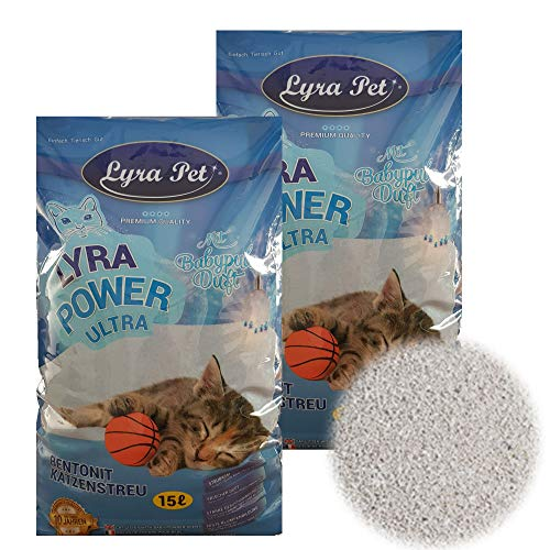 30 Liter LyraPet Cats Power Ultra Excellent Katzenstreu Babypuderduft Klumpstreu