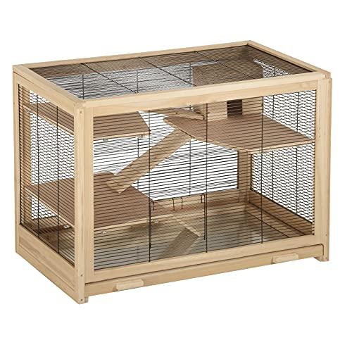 EUGAD Hamsterkäfig Holz Groß Kleintierkäfig Mäusekäfig Nagerkäfig Rattenkäfig Nagervilla...