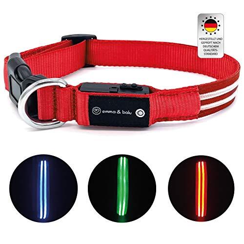 emma & balu Hundehalsband   Leuchtend mit bis zu 300m Sicht bei Dunkelheit, LED Halsband, Leuchthalsband,...