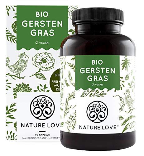 NATURE LOVE® Bio Gerstengras - Hochdosiert mit 1500mg je Tagesdosis - 180 Kapseln - Laborgeprüft und...