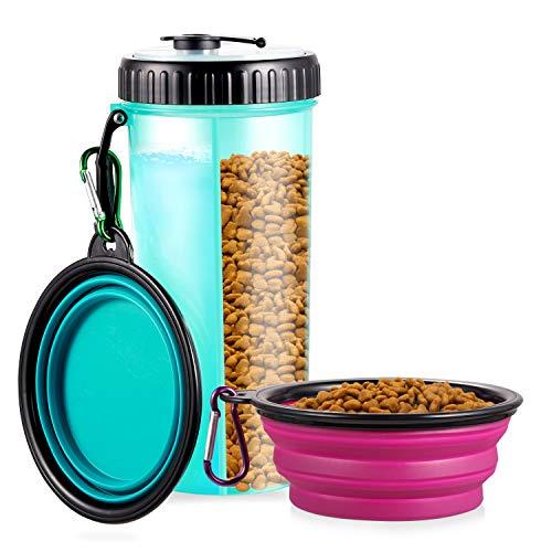 WOMGF Trinkflasche Hunde mit 2er Faltschüsseln Haustier Wasserflasche 2-in-1 Futterbehälter und...