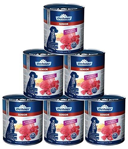 Dehner Premium Hundefutter Senior, Rind und Lamm mit Kartoffeln, 6 x 800 g (4.8 kg)