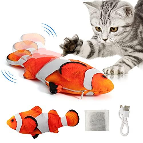 DazSpirit Katzenspielzeug Elektrisch Fisch, Flippity Fish Katze Spielzeug Interaktives Fisch Spielzeug...