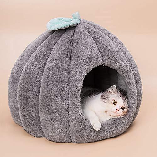 Urijk Katzenhöhlen Katzenbett Kuschelhöhle mit abnehmbar weich Innerkissen Schlafsack Katzenzelt...