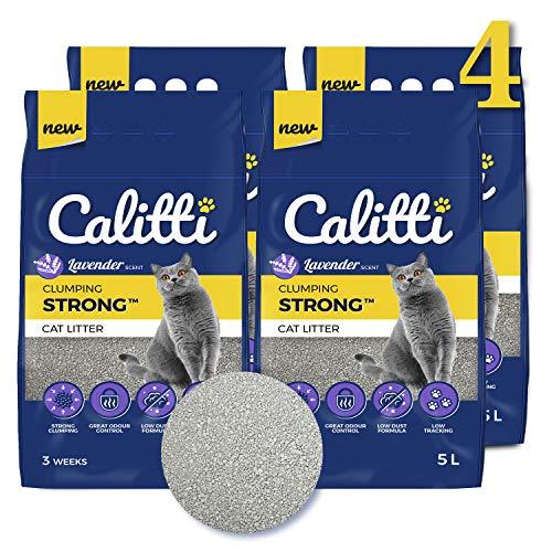 Calitti Katzenstreu Klumpstreu ohne Duft | 100% natürlichem Bentonit mit frischem Lavendelduft | 12...