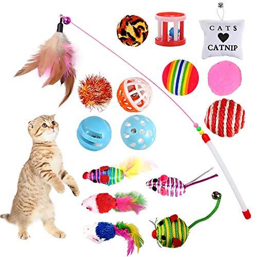 GOLDGE 16 Stück Katzenspielzeug Katze Toys Variety Spielzeug Set Federspielzeug Bälle Verschiedene...