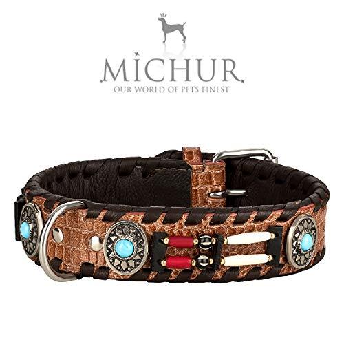 MICHUR Carlota Halsband Indianer, Hundehalsband Leder Braun, Lederhalsband Hund, Halsband, MIT TÜRKISEN...