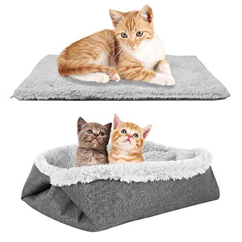 BingoPaw 2 in 1 Katzenbett, Faltbar und Erweiterbar Katzensofa Tierbett, Waschbare Plüsch Weich Winter...