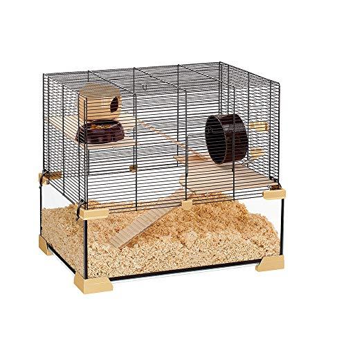 Ferplast Käfig für Hamster oder Mäuse KARAT 60 Kleine Nagetiere, Zwei Ebenen mit Zubehör, aus Glas...