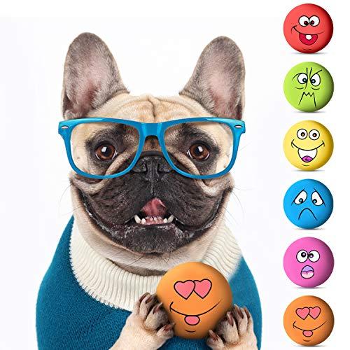 Rehomy Hundespielzeug, Gummi, quietschende Bälle, weich, zum Kauen, quietschende Gesichtsbälle,...