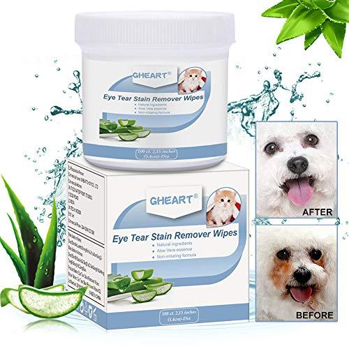 GHEART Augen-Reinigungspads für Hunde & Katzen, 100 Stück Pflegetücher Hund, Feuchttücher,...