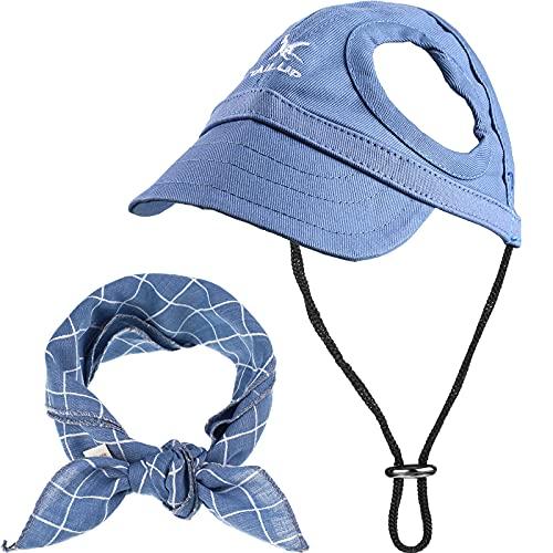 2 Stücke Haustier Baseball Hut und Hund Bandana Set Haustier Outdoor Sport Hut Haustier Leinwand Hüte...