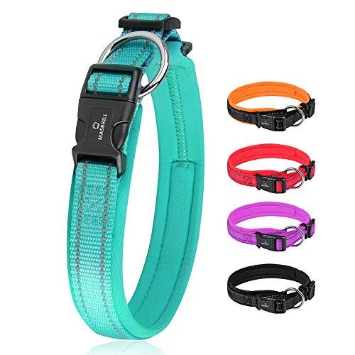 MASBRILL Hundehalsband Verstellbare, Weich Gepolstertes Neopren Nylon Hunde Halsband Reflektierend...