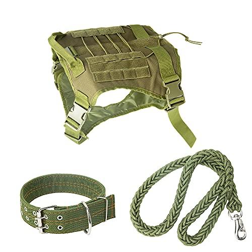 PetBOYA Taktische Hundegeschirr Weste Set, Militärische Hundegeschirr Halsband Leine für Mittlere /...