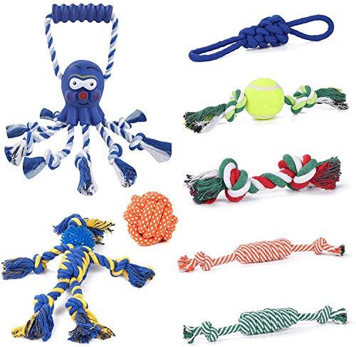 Joyoldelf Hundespielzeug, Welpenspielzeug, 8 Haltbare Welpen-Kauspielzeuge zum Reinigen der Zähne,...