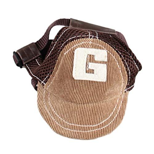 FLAMEER Hund Baseballmütze Hundecap Hundemütze Sommer Sonnenschutz Kappe Hut mit Ohrlöchern - Kaffee,...