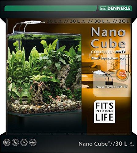 Dennerle Nano Cube Complete+ Soil 30 Liter - Mini Aquarium mit Abgerundeter Frontscheibe - Komplett-Set