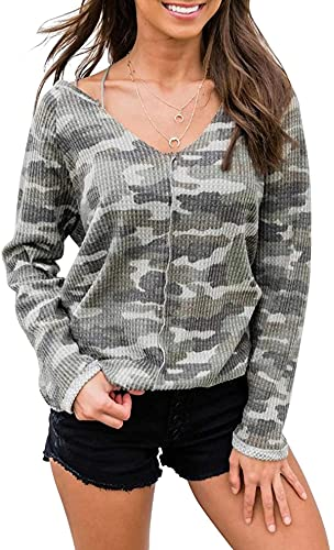 Tegerri Damen Fashion Camo Print Sweatshirts One Shoulder V Neck Pullover Lose Langarm Knit Top Gr. S,...