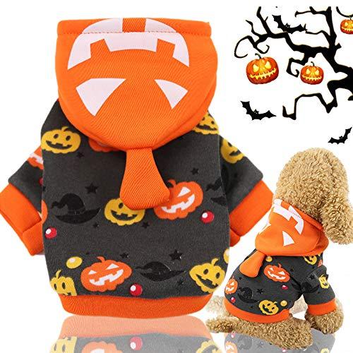 Idepet Halloween Haustier Hoodie Mantel, Kürbis Hund Kostüm Fleece Wintermantel Jacken Pullover für...
