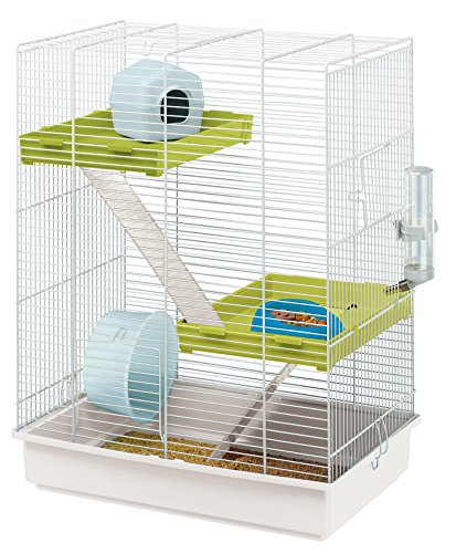 Ferplast 57018411W1 Nagerheim Hamster Tris, Komplettausstattung, Maße: 46 x 29 x 58 cm, weiß mit...