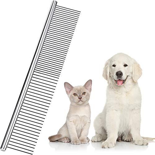 Boao Edelstahl Haustierkamm Haustierpflegekamm Abgerundete Zähne Hundekamm für Große, Mittlere und...