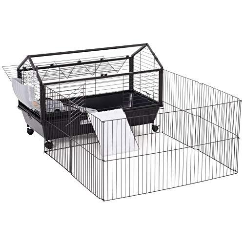 Pawhut Nagerkäfig Hasenkäfig Meerschweinkäfig Kleintier mit Garten Balkon Metall 88 x 128,5 x 56 cm