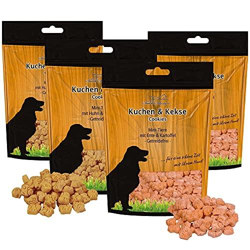 Schecker Hundekekse im Set 2 x Mini-Tiere Ente & Kartoffel + 2X Huhn & Kartoffel