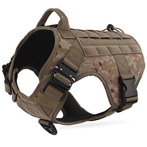 Dociote Taktisches Hundegeschirr militär mit Griff Brustring Camouflage no Pull Geschirr...